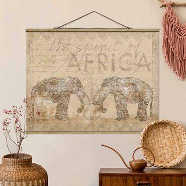 Stoffbild mit Posterleisten - Vintage Collage - Spirit of Africa - Querformat 3:4