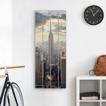 Holzbild - Sonnenaufgang in New York - Hochformat 5:2