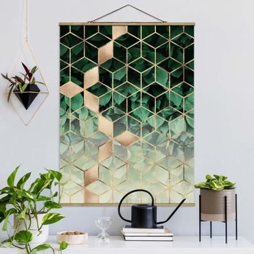 Stoffbild mit Posterleisten - Elisabeth Fredriksson - Grüne Blätter goldene Geometrie - Hochformat 4:3