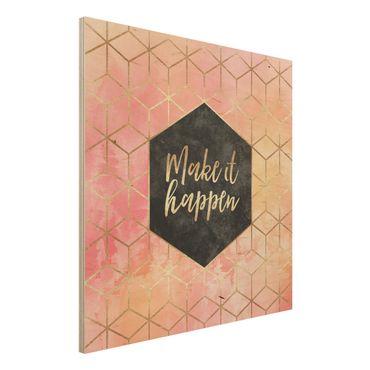 Holzbild - Make It Happen Geometrie Pastell - Quadrat 1:1