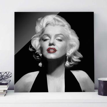 Glasbild - Marilyn mit roten Lippen - Quadrat 1:1