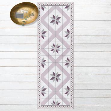 Vinyl-Teppich - Geometrische Fliesen Rautenblüte Flieder mit schmaler Bordüre - Panorama Hoch 1:3