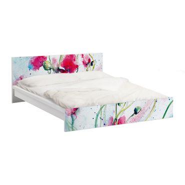 Möbelfolie für IKEA Malm Bett niedrig 160x200cm - Klebefolie Painted Poppies