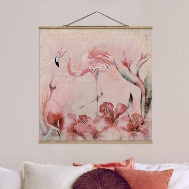 Stoffbild mit Posterleisten - Shabby Chic Collage - Flamingo - Quadrat 1:1