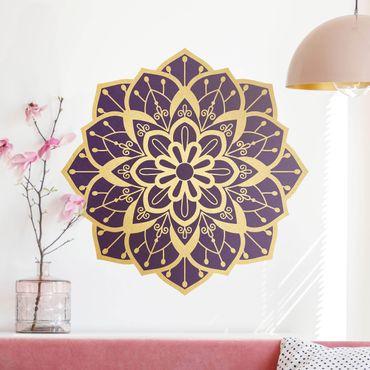 Wandtattoo - Mandala Blüte Muster gold violett