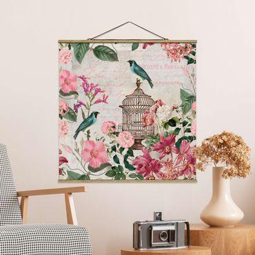 Stoffbild mit Posterleisten - Shabby Chic Collage - Rosa Blüten und blaue Vögel - Quadrat 1:1
