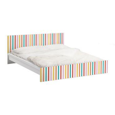 Möbelfolie für IKEA Malm Bett niedrig 160x200cm - Klebefolie No.UL750 Stripes