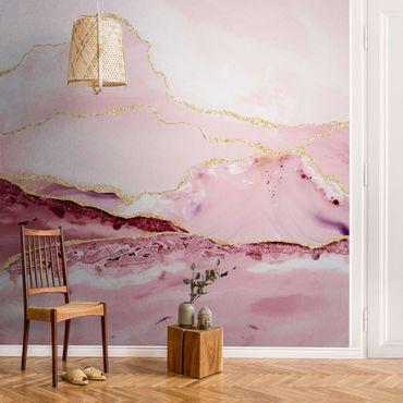 Metallic Tapete  - Abstrakte Berge Rosa mit Goldenen Linien