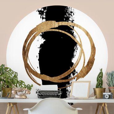 Runde Tapete selbstklebend - Abstrakte Formen - Gold und Schwarz