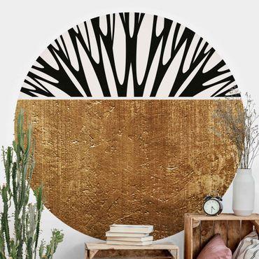 Runde Tapete selbstklebend - Abstrakte Formen - Goldener Kreis