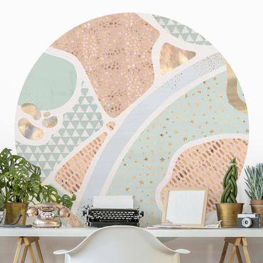 Runde Tapete selbstklebend - Abstrakte Seelandschaft Pastellmuster