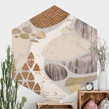 Hexagon Fototapete selbstklebend - Abstrakter Steinbruch Pastellmuster
