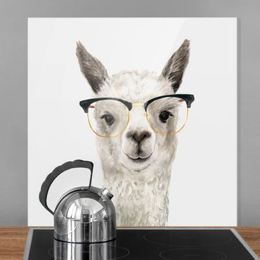 Glas Spritzschutz - Hippes Lama mit Brille I - Quadrat - 1:1