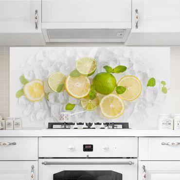 Spritzschutz Glas - Zitrusfrüchte auf Eiswürfel - Querformat - 2:1