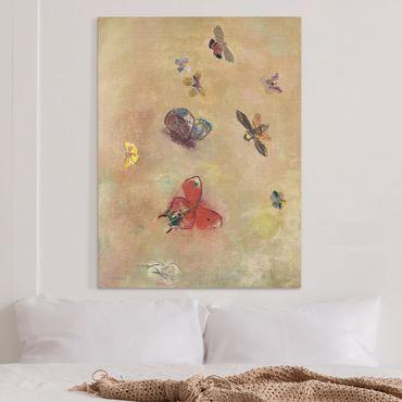 Leinwandbild - Odilon Redon - Bunte Schmetterlinge - Hochformat 4:3