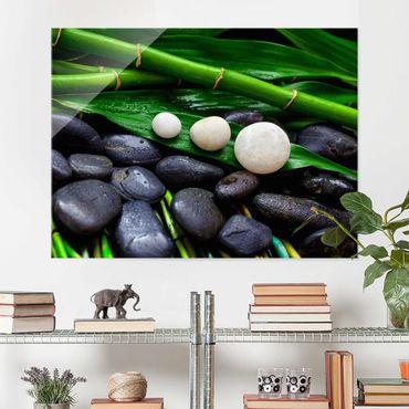 Glasbild - Grüner Bambus mit Zen Steinen - Querformat 3:4