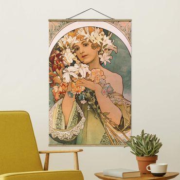 Stoffbild mit Posterleisten - Alfons Mucha - Blume - Hochformat 3:2