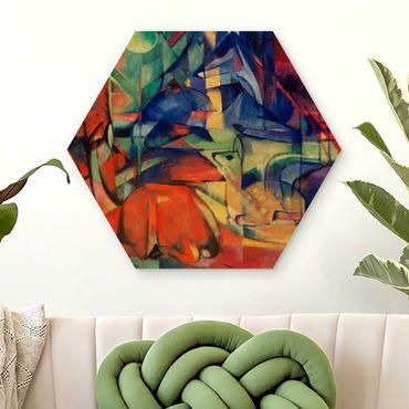 Hexagon Bild Holz - Franz Marc - Rehe im Walde