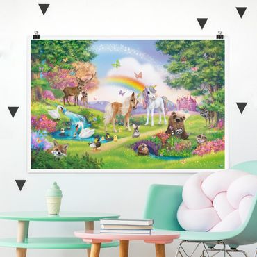 Poster Kinderzimmer - Animal Club International - Zauberwald mit Einhorn - Querformat 2:3