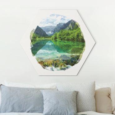 Hexagon Bild Alu-Dibond - Wasserfarben - Bergsee mit Spiegelung