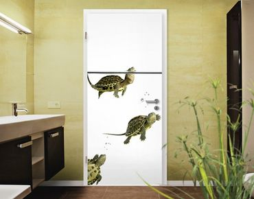"Fototapete Tür - Papier No.40 ""DIVING TURTLES"" 100x210cm"
