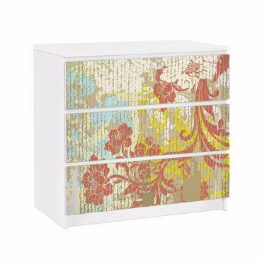Möbelfolie für IKEA Malm Kommode - Klebefolie Blüten vergangener Zeit