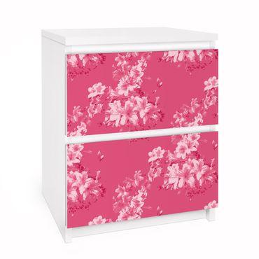 Möbelfolie für IKEA Malm Kommode - Selbstklebefolie Folie Antikes Blumenmuster