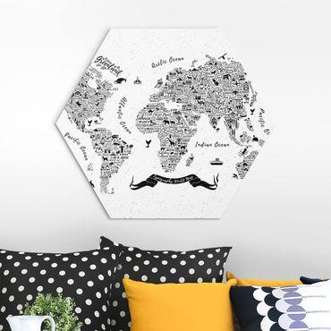 Hexagon Bild Alu-Dibond - Typografie Weltkarte weiß
