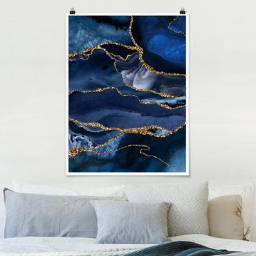 Poster - Goldene Glitzer Wellen vor Blau - Hochformat 4:3