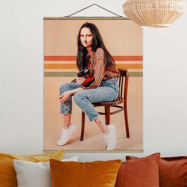 Stoffbild mit Posterleisten - Jonas Loose - Retro Mona Lisa - Hochformat 4:3