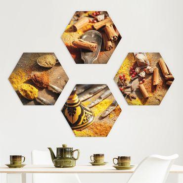 Hexagon Bild Forex 4-teilig - Orientalische Gewürze
