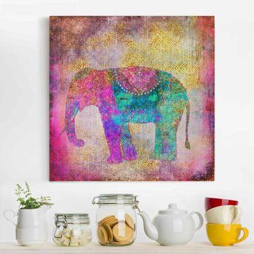 Leinwandbild - Bunte Collage - Indischer Elefant - Quadrat 1:1