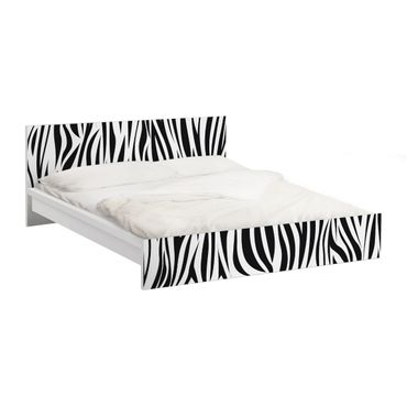 Möbelfolie für IKEA Malm Bett niedrig 180x200cm - Klebefolie Zebra Pattern