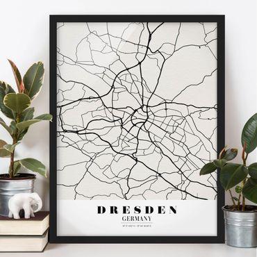Bild mit Rahmen - Stadtplan Dresden - Klassik - Hochformat 3:4