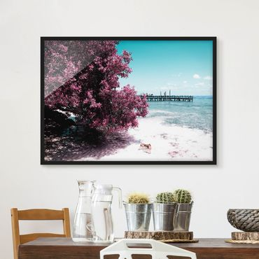 Bild mit Rahmen - Paradies Strand Isla Mujeres - Querformat 3:4