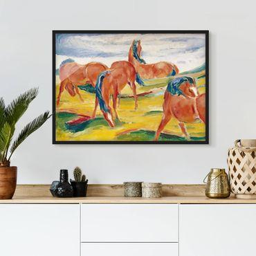 Bild mit Rahmen - Franz Marc - Weidende Pferde - Querformat 3:4