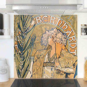 Spritzschutz Glas - Alfons Mucha - Plakat für Theaterstück Gismonda - Quadrat 1:1