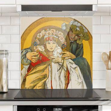 Spritzschutz Glas - Alfons Mucha - Plakat Tschechoslowakischen Republik - Quadrat 1:1