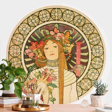 Runde Tapete selbstklebend - Alfons Mucha - Werbeplakat für La Trappistine