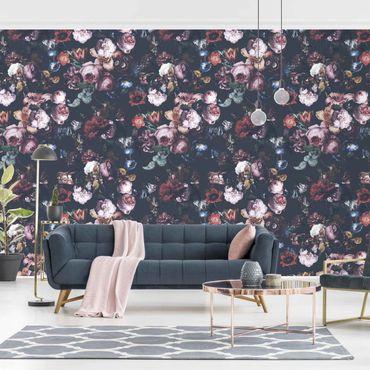 Fototapete - Altmeisterliche Blüten mit Tulpen und Rosen auf Dunkelgrau