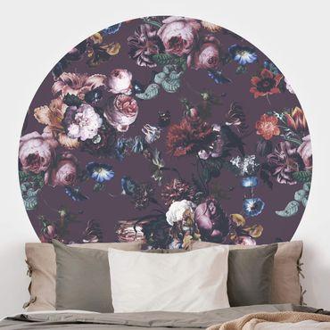 Runde Tapete selbstklebend - Altmeisterliche Blüten mit Tulpen und Rosen auf Lila