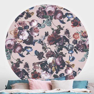 Runde Tapete selbstklebend - Altmeisterliche Blüten mit Tulpen und Rosen auf Rosa