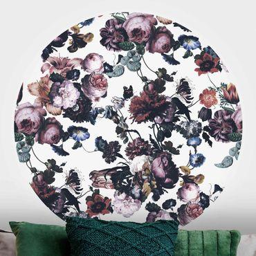 Runde Tapete selbstklebend - Altmeisterliche Blüten mit Tulpen und Rosen auf Weiß