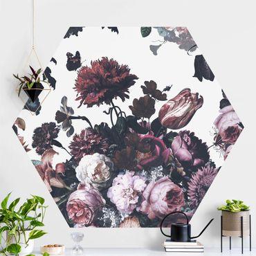 Hexagon Mustertapete selbstklebend - Altmeisterlicher Blumenrausch mit Rosen Bouquet