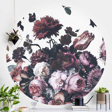 Runde Tapete selbstklebend - Altmeisterlicher Blumenrausch mit Rosen Bouquet