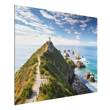 Alu-Dibond Bild - Nugget Point Leuchtturm und Meer Neuseeland