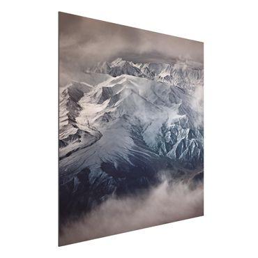 Aluminium Print - Berge von Tibet - Quadrat 1:1