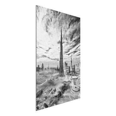 Aluminium Print - Dubai Super Skyline - Hochformat 3:2