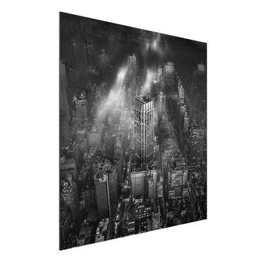 Aluminium Print - Sonnenlicht über New York City - Quadrat 1:1