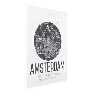 Alu-Dibond Bild - Stadtplan Amsterdam - Retro